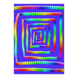 "Cool Funky Rainbow Maze Rolling Circle Spheres Des 5"" X 7"" Invitation Card"