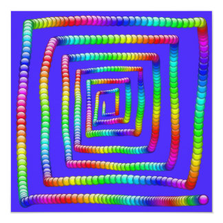 "Cool Funky Rainbow Maze Rolling Circle Spheres Des 5.25"" Square Invitation Card"