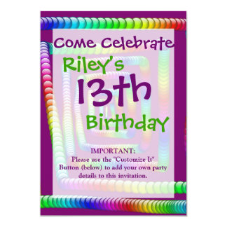 "Cool Funky Rainbow Maze Rolling Marbles Design 5"" X 7"" Invitation Card"