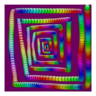 Cool Funky Rainbow Maze Rolling Marbles Design Posters