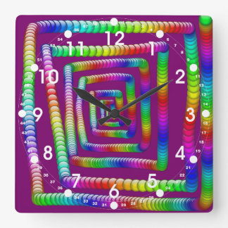 Cool Funky Rainbow Maze Rolling Marbles Design Square Wall Clock