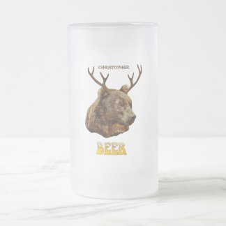 Cool Funny Beer Deer Bear With Glass Beer Letters Frosted Glass Beer Mug
