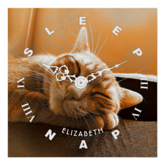 Cool Funny Cat Sleeping And Napping Clock Poster