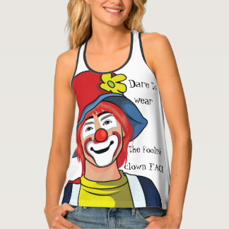 Cool funny clown face colorful humorous design. tank top