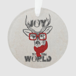 "Cool funny deer sketch ""Joy to the World"" quote Ornament"