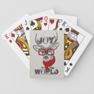 """Cool funny deer sketch """"Joy to the World"""" quote Playing Cards"""