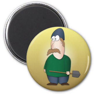Cool funny Farmer cartoon 6 Cm Round Magnet