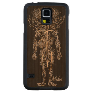 Cool Funny Geek Man's Circulatory System Custom Carved Cherry Galaxy S5 Case
