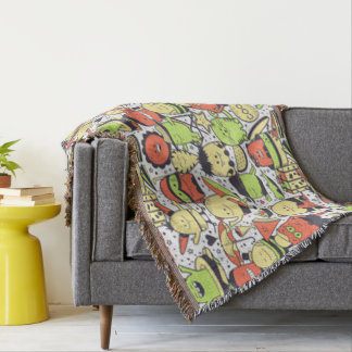 Cool Funny Monsters Throw Blanket