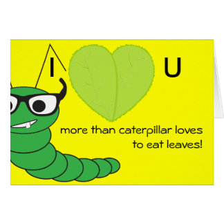 Cool funny nerdy caterpillar Valentine's Day Note Card