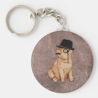 Cool funny piglet investigator cartoon basic round button key ring