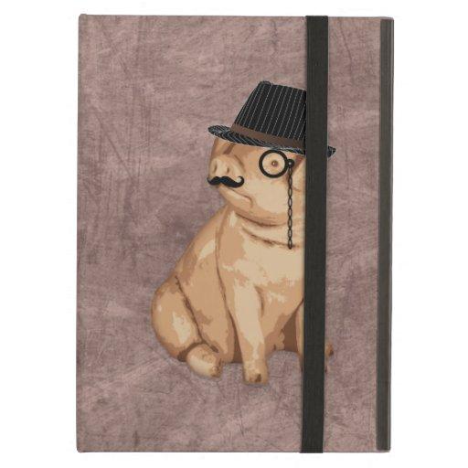 Cool funny piglet investigator cartoon iPad cases