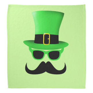 Cool Funny St. Patrick's Day Moustache Top hat Bandanas