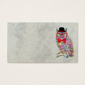 Cool funny trendy colourful watercolours owl