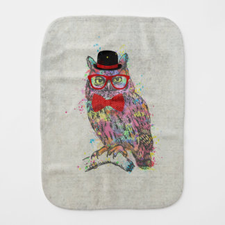 Cool funny trendy colourful watercolours owl burp cloth