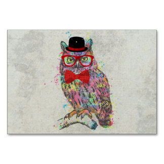 Cool funny trendy colourful watercolours owl card