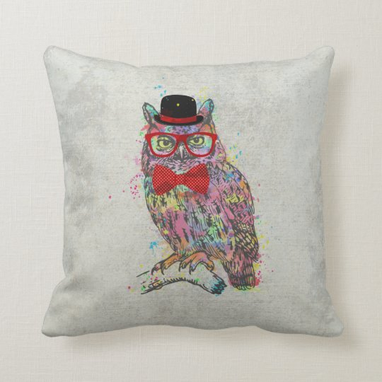 Cool funny trendy colourful watercolours owl cushion