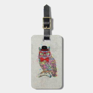 Cool funny trendy colourful watercolours owl luggage tag