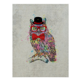 Cool funny trendy colourful watercolours owl poster