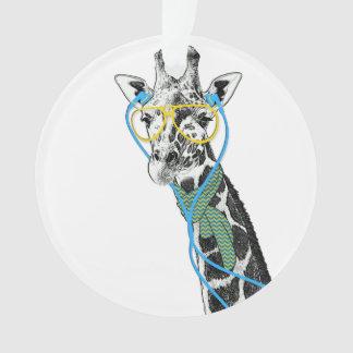 Cool funny trendy giraffe with glasses, earphones