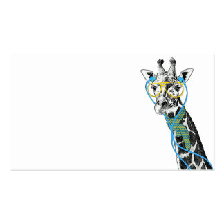 Cool funny trendy giraffe with glasses, earphones Double-Sided standard business cards (Pack of 100)
