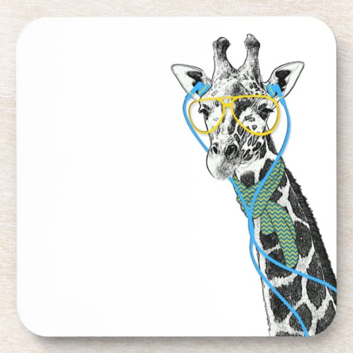 Cool funny trendy giraffe with glasses, earphones beverage coasters