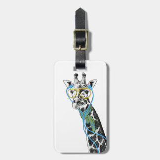 Cool funny trendy giraffe with glasses, earphones travel bag tags