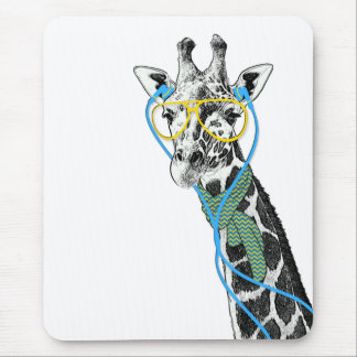 Cool funny trendy giraffe with glasses, earphones mouse mat