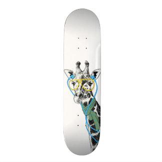 Cool funny trendy giraffe with glasses, earphones skateboard deck