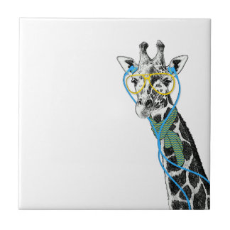 Cool funny trendy giraffe with glasses, earphones small square tile
