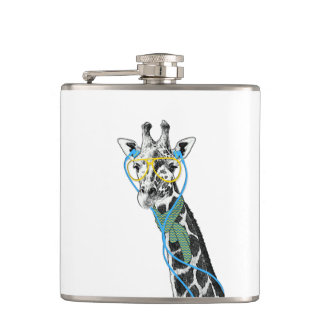 Cool funny trendy giraffe with glasses, earphones hip flask