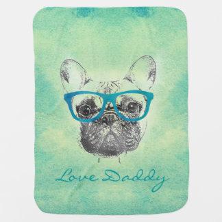 Cool  funny trendy vintage French bulldog  puppy Baby Blanket