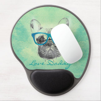 Cool  funny trendy vintage French bulldog  puppy Gel Mouse Mat