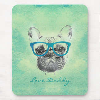 Cool  funny trendy vintage French bulldog  puppy Mouse Mat
