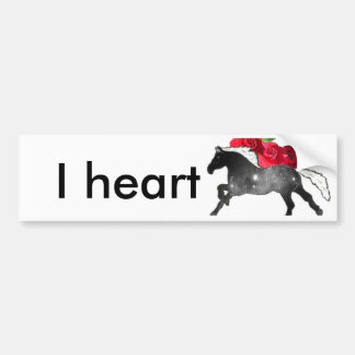 Cool Galazy Horse Black + White Nebula with Roses Bumper Sticker