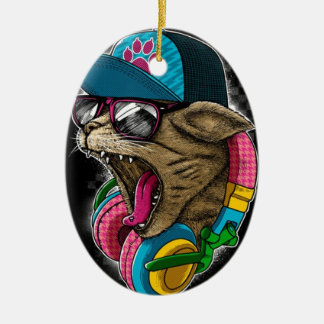 cool gangster rapping cat. ceramic oval decoration