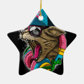 cool gangster rapping cat. ceramic star decoration