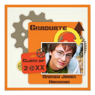 Cool Gears Graduation Photo 13 Cm X 13 Cm Square Invitation Card