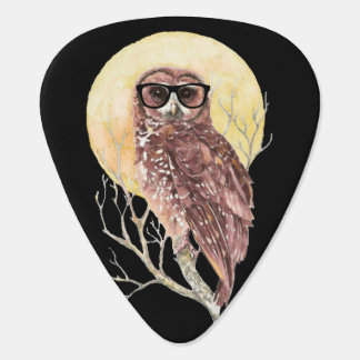 Cool Geek Owl in Glasses with Moon & Tree Humor Plectrum
