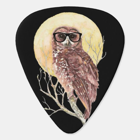 Cool Geek Owl in Glasses with Moon &