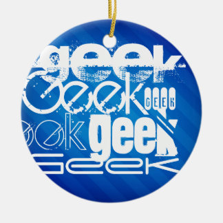 Cool Geek; Royal Blue Stripes Double-Sided Ceramic Round Christmas Ornament