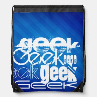 Cool Geek; Royal Blue Stripes Drawstring Bag
