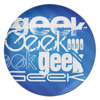 Cool Geek; Royal Blue Stripes Party Plate