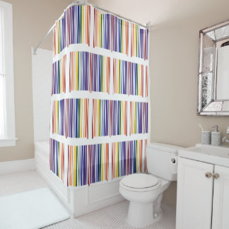Cool Geometric Double Rainbow Barcodes Shower Curtain