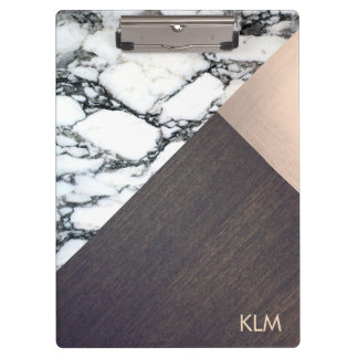 Cool Geometric Marble Wood Rose Gold Monogram Clipboard