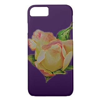 Cool giant peach rosebud on purple iPhone 7 case