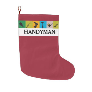 Cool Gift for Him! Repairman Handyman Work Tools Large Christmas Stocking