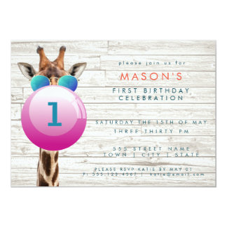 Cool Giraffe and Bubblegum | Party Invitation