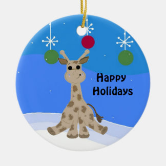 Cool Giraffe Happy Holidays Christmas Ornament