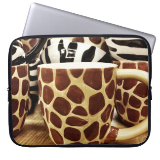 Cool Giraffe Pattern and Zebra Stripes Coffee Mugs Laptop Sleeve